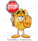 Illustration of a Police Badge Mascot Holding a Stop Sign by Toons4Biz