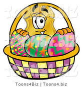 Illustration of a Police Badge Mascot in an Easter Basket Full of Decorated Easter Eggs by Toons4Biz