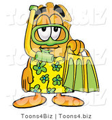 Illustration of a Police Badge Mascot in Green and Yellow Snorkel Gear by Toons4Biz