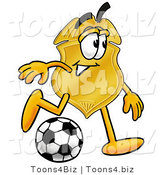 Illustration of a Police Badge Mascot Kicking a Soccer Ball by Toons4Biz