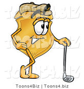 Illustration of a Police Badge Mascot Leaning on a Golf Club While Golfing by Toons4Biz