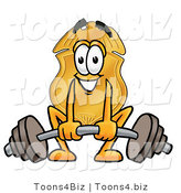 Illustration of a Police Badge Mascot Lifting a Heavy Barbell by Toons4Biz