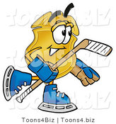 Illustration of a Police Badge Mascot Playing Ice Hockey by Toons4Biz