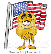 Illustration of a Police Badge Mascot Pledging Allegiance to an American Flag by Toons4Biz