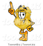 Illustration of a Police Badge Mascot Pointing Upwards by Toons4Biz