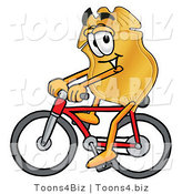 Illustration of a Police Badge Mascot Riding a Bicycle by Toons4Biz