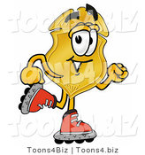 Illustration of a Police Badge Mascot Roller Blading on Inline Skates by Toons4Biz