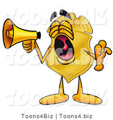 Illustration of a Police Badge Mascot Screaming into a Megaphone by Toons4Biz