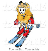 Illustration of a Police Badge Mascot Skiing Downhill by Toons4Biz