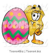 Illustration of a Police Badge Mascot Standing Beside an Easter Egg by Toons4Biz