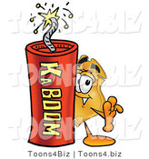 Illustration of a Police Badge Mascot Standing with a Lit Stick of Dynamite by Toons4Biz