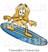 Illustration of a Police Badge Mascot Surfing on a Blue and Yellow Surfboard by Toons4Biz