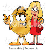 Illustration of a Police Badge Mascot Talking to a Pretty Blond Woman by Toons4Biz