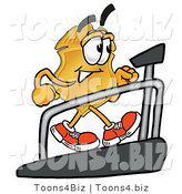 Illustration of a Police Badge Mascot Walking on a Treadmill in a Fitness Gym by Toons4Biz