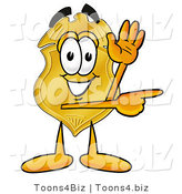 Illustration of a Police Badge Mascot Waving and Pointing by Toons4Biz