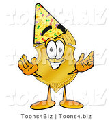 Illustration of a Police Badge Mascot Wearing a Birthday Party Hat by Toons4Biz