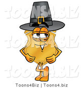 Illustration of a Police Badge Mascot Wearing a Pilgrim Hat on Thanksgiving by Toons4Biz