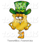 Illustration of a Police Badge Mascot Wearing a Saint Patricks Day Hat with a Clover on It by Toons4Biz