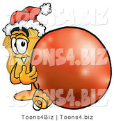 Illustration of a Police Badge Mascot Wearing a Santa Hat, Standing with a Christmas Bauble by Toons4Biz