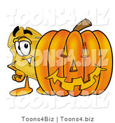 Illustration of a Police Badge Mascot with a Carved Halloween Pumpkin by Toons4Biz