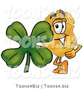 Illustration of a Police Badge Mascot with a Green Four Leaf Clover on St Paddy's or St Patricks Day by Toons4Biz