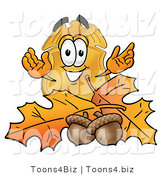 Illustration of a Police Badge Mascot with Autumn Leaves and Acorns in the Fall by Toons4Biz