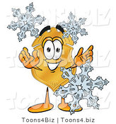 Illustration of a Police Badge Mascot with Three Snowflakes in Winter by Toons4Biz