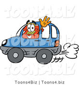 Illustration of a Red Cartoon Telephone Mascot Driving a Blue Car and Waving by Toons4Biz