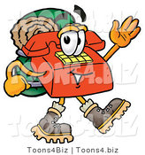 Illustration of a Red Cartoon Telephone Mascot Hiking and Carrying a Backpack by Toons4Biz