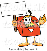 Illustration of a Red Cartoon Telephone Mascot Holding a Blank Sign by Toons4Biz