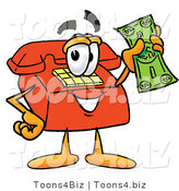 Illustration of a Red Cartoon Telephone Mascot Holding a Dollar Bill by Toons4Biz