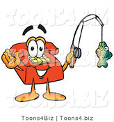 Illustration of a Red Cartoon Telephone Mascot Holding a Fish on a Fishing Pole by Toons4Biz