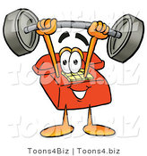 Illustration of a Red Cartoon Telephone Mascot Holding a Heavy Barbell Above His Head by Toons4Biz