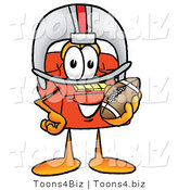 Illustration of a Red Cartoon Telephone Mascot in a Helmet, Holding a Football by Toons4Biz