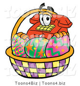 Illustration of a Red Cartoon Telephone Mascot in an Easter Basket Full of Decorated Easter Eggs by Toons4Biz