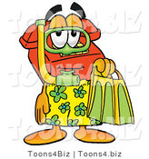 Illustration of a Red Cartoon Telephone Mascot in Green and Yellow Snorkel Gear by Toons4Biz