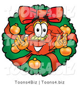 Illustration of a Red Cartoon Telephone Mascot in the Center of a Christmas Wreath by Toons4Biz