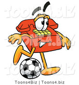 Illustration of a Red Cartoon Telephone Mascot Kicking a Soccer Ball by Toons4Biz