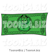 Illustration of a Red Cartoon Telephone Mascot on a Dollar Bill by Toons4Biz