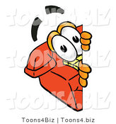 Illustration of a Red Cartoon Telephone Mascot Peeking Around a Corner by Toons4Biz