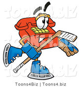 Illustration of a Red Cartoon Telephone Mascot Playing Ice Hockey by Toons4Biz