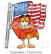 Illustration of a Red Cartoon Telephone Mascot Pledging Allegiance to an American Flag by Toons4Biz