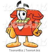 Illustration of a Red Cartoon Telephone Mascot Pointing at the Viewer by Toons4Biz