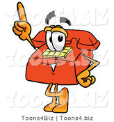 Illustration of a Red Cartoon Telephone Mascot Pointing Upwards by Toons4Biz