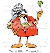Illustration of a Red Cartoon Telephone Mascot Preparing to Hit a Tennis Ball by Toons4Biz
