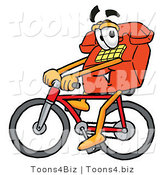 Illustration of a Red Cartoon Telephone Mascot Riding a Bicycle by Toons4Biz