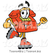 Illustration of a Red Cartoon Telephone Mascot Roller Blading on Inline Skates by Toons4Biz