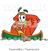 Illustration of a Red Cartoon Telephone Mascot Rowing a Boat by Toons4Biz