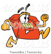 Illustration of a Red Cartoon Telephone Mascot Running by Toons4Biz
