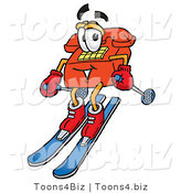 Illustration of a Red Cartoon Telephone Mascot Skiing Downhill by Toons4Biz